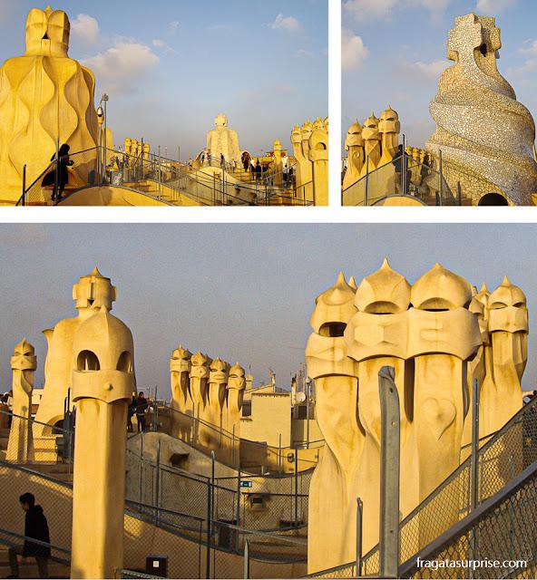 O terraço de La Pedrera, obra de Gaudí em Barcelona