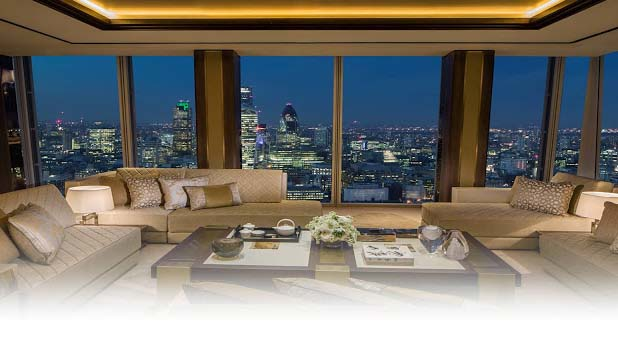Shangri La London hotel is occupying 35 to 52 floors of the popular Shard building and offers the most excellent views of London. The reception is on the 35th floor and guestrooms are considered the largest in the whole city.