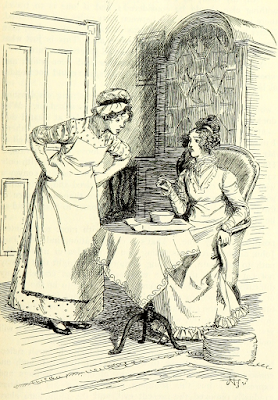 Like her father, Mr Woodhouse, Mrs John Knightley liked a basin of gruel for supper, but her cook was unable to make anything tolerable from Emma by Jane Austen 1896 edition illustrated by Hugh Thomson