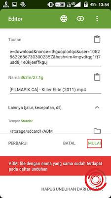 Selanjutnya akan muncul pop up Editor sebelum melanjutkan proses download, nah di sini kalian langsung klik Mulai jangan klik Perbarui atau merubah nama file tersebut