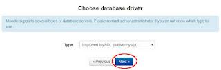 memilih type database moodle