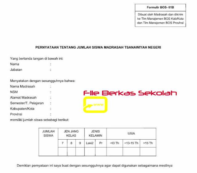 Download Formulir BOS-01B Madrasah