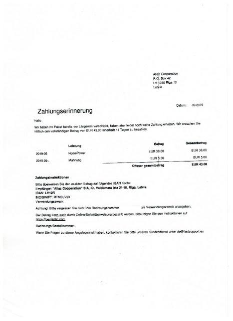 Scan: Zahlungserinnerung Aliaz Cooperation / Sep 2019