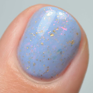 periwinkle nail polish with color shifting flakies