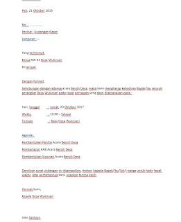 Download Contoh Surat Undangan Rapat Desa Format Docs