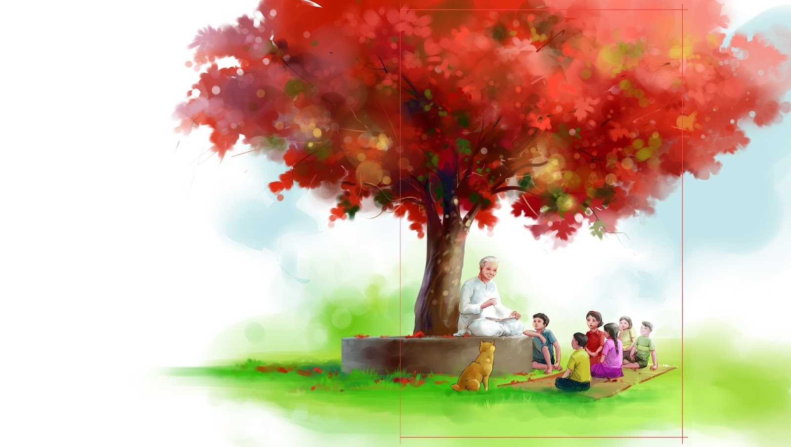 children's kid's book cover illustration digital painting old man tells story to kids under a tree