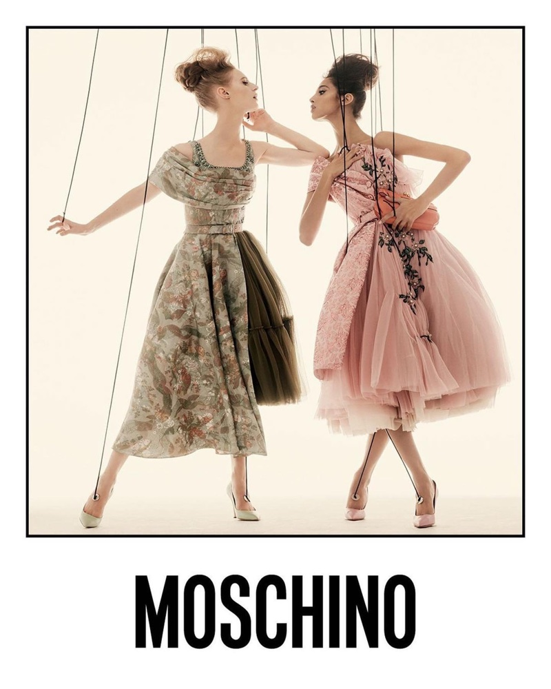 Julia Nobis and Yasmin Wijnaldum poses as puppets for Moschino spring-summer 2021 campaign.