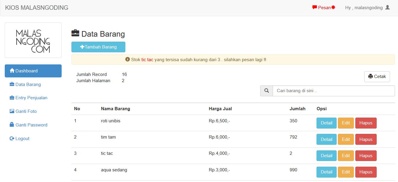 Source Code Aplikasi Penjualan Barang Kasir Online