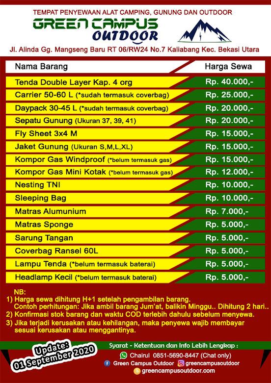 Harga Sewa Alat Outdoor Bekasi Utara