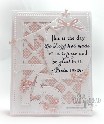 Our Daily Bread Designs Stamp Set: Celebration, Custom Dies: Large Numbers, Boho Bachground, Rectangles, Snowflake Sky,Pierced Ovals, Pretty Posies, Easter Eggs, Circle Ornaments, Pennant Row, Windowsill Candles, Paper Collection: Pastel