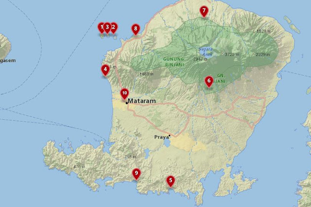 Map of the Best Places to Stay in Lombok