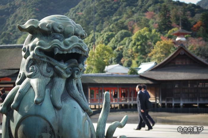 Komainu, sanctuaire Itsukushima, Miyajima, Hiroshima-ken