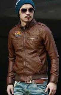 model jaket kulit warna coklat untuk tim barcelona