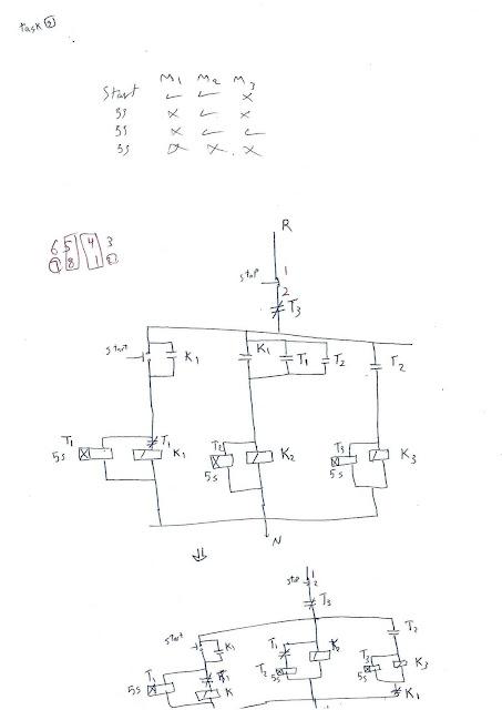 9- دائرة تشغيل 3مواتير حيث عند الضغط علي مفتاح التشغيل الماتور الاول والثاني  يعمل وبعد5 ثواني يعمل الماتور الثاني فقط وبعد 5 ثواني يعمل الماتور الثاني والثالث فقط وبعد 5 ثواني تتوقف ال3 مواتير عن العمل