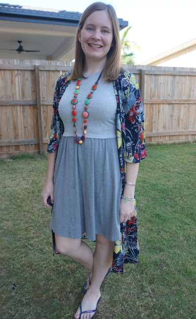 Jeanswest Melanie floral kimono with asos grey babydoll skater dress adding colour with accessories | awayfromblue