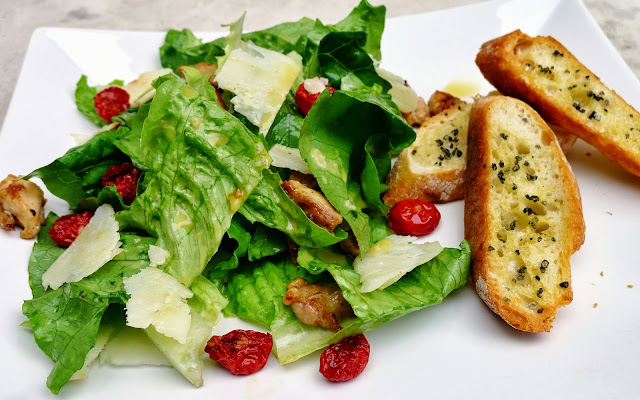Caesar Salad with Chicken and Slow Roasted Tomatoes