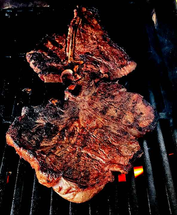 charcoal grilled t bone steak