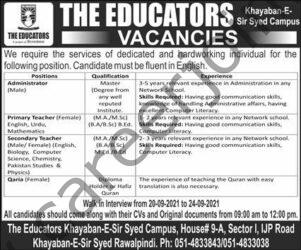 The Educators Jobs 2021 in Pakistan