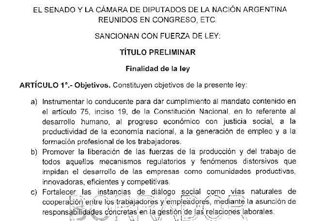Reforma Laboral: borrador del Proyecto de ley