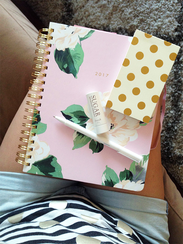 Ban.do 17-month agenda, Kate Spade polka dot notepad, poppin white pen, Fresh Sugar Advanced Lip Therapy