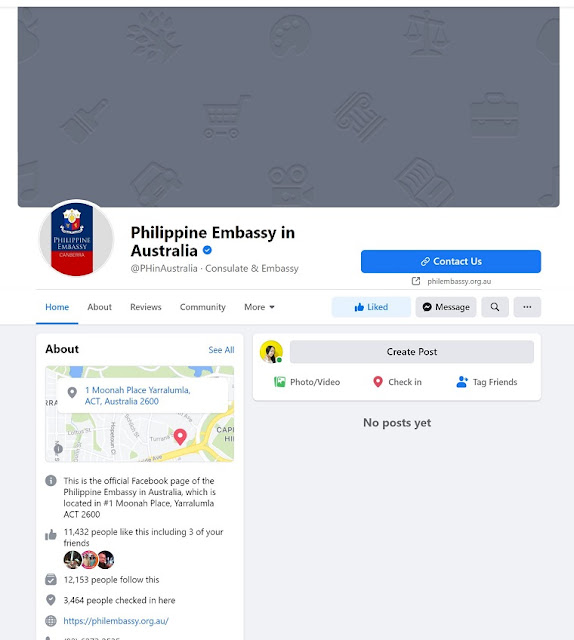 All posts in The Philippine Embassy in Australia official FB page are removed by Facebook