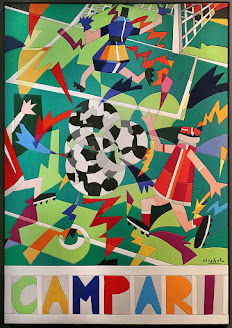 Nespolo's advertising poster for Campari themed on the 1990 World Cup