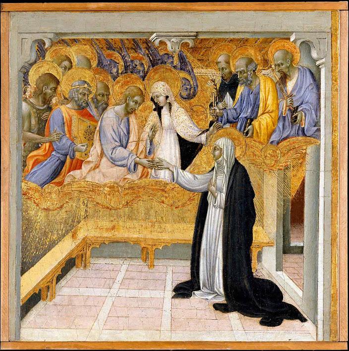 Santa Catarina de Siena, desposório místico com Cristo, Giovanni di Paolo di Grazia