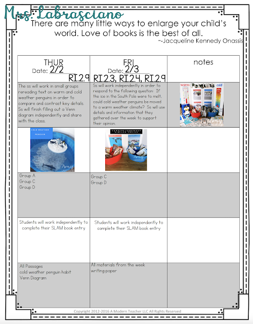 Click here to learn all about teaching ELA in the second  grade classroom.  These free and fun lesson outlines will detail curriculum and ideas for all informational, literature and writing standards in my 2nd grade elementary classroom.  This week's lessons will be all about: Penguins, Cold Weather Penguins, Warm Weather Penguins, Cause and Effect, Compare and Contrast, Informational Writing, Opinion Writing.  Your second grade students will love the lessons and activities shared here.  These lesson outlines are added and updated almost each week.