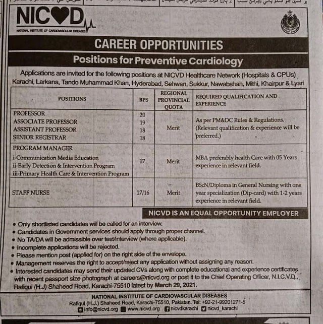 Latest Jobs 2021 | In National Institute Of Cardiovascular Disease NICVD Jobs 2021