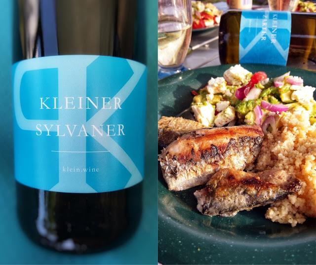 Silvaner Weingut Phil Klein mit Sardinen
