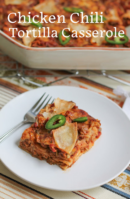 "Food Lust People Love: This chicken chili tortilla casserole is like enchiladas made easier by layering the ""filling"" with corn tortillas and topping each layer with cheese. It is assembled, with apologies to all Italians: lasagna style."