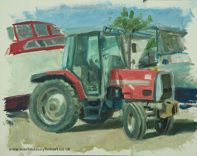 tractor at boat yard painting