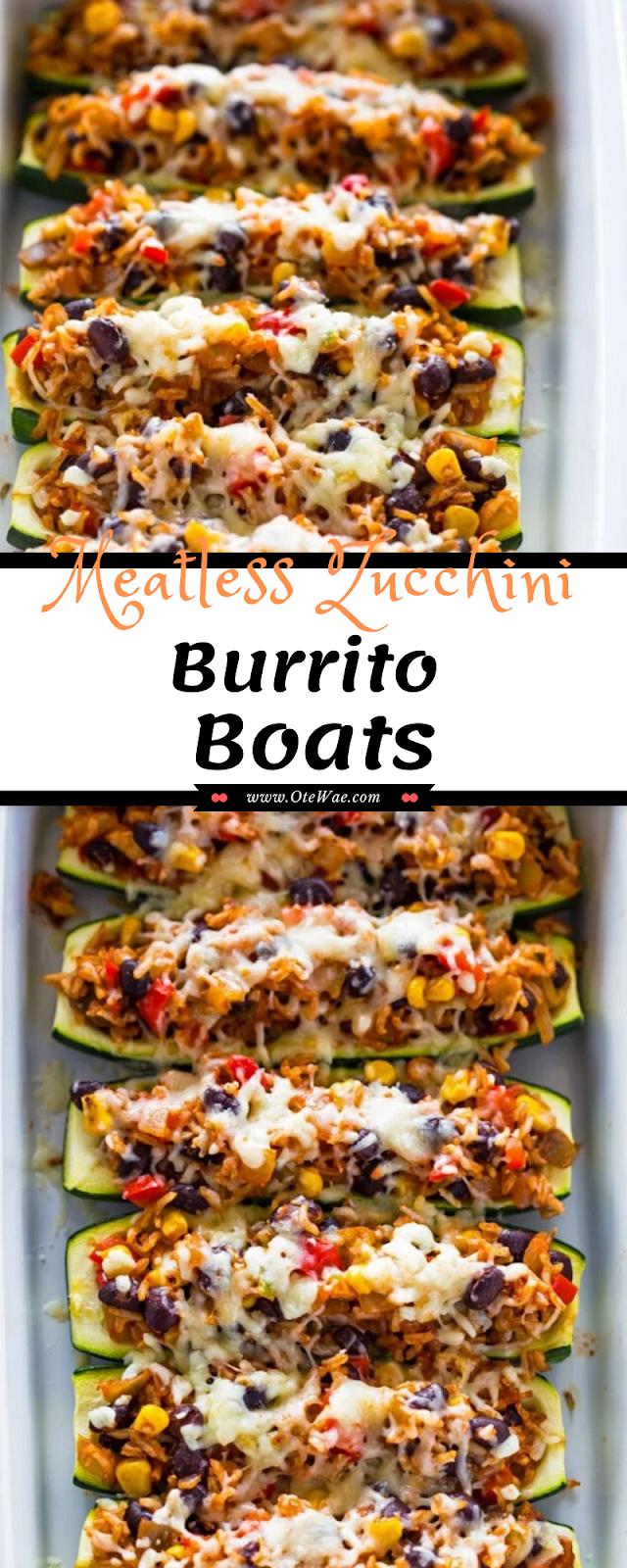Meatless Zucchini Burrito Boats