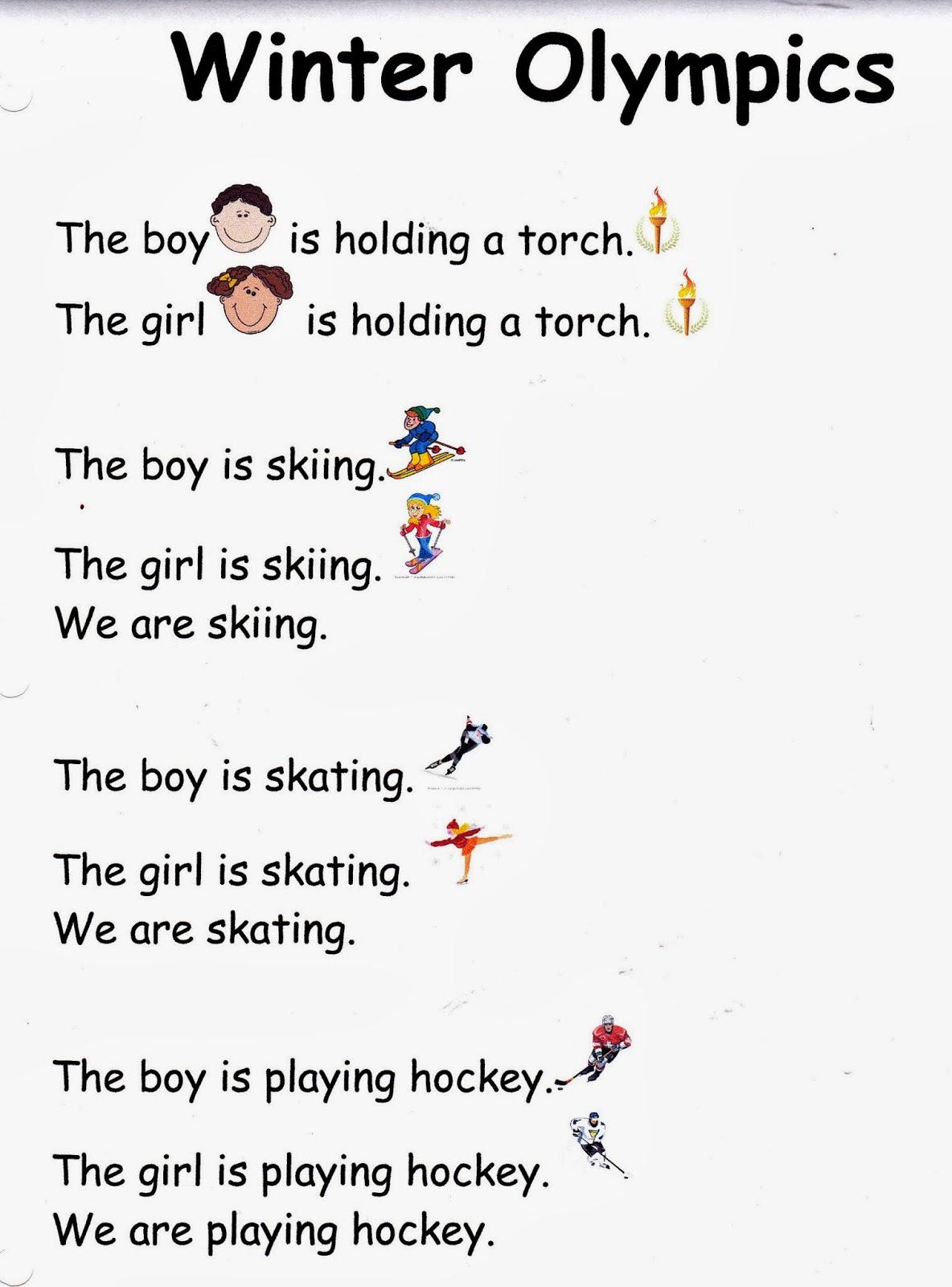 Metamora Community Preschool Winter Olympics Words And Simple Sentences