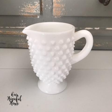 white pointy hobnail milkglass creamer