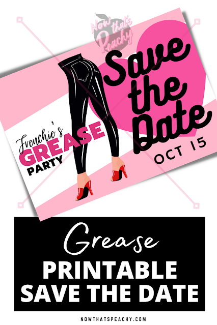 Grease SAVE THE DATE invitation editable party printable