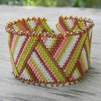 купить полосатый браслет из бисера плетеный широкий
