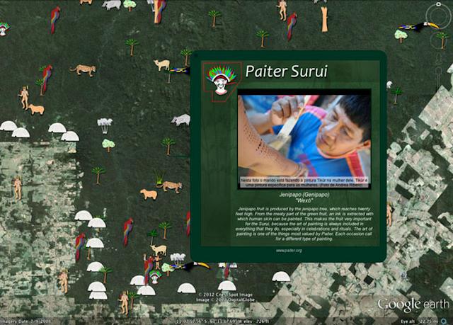 Google Earth Screenshot der Geschichte der Surui