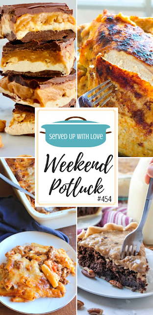 Weekend Potluck featured recipes- Slow Cooker Turkey Breast, Homemade Snickers Bars, No-Boil Baked Ziti, German Chocolate Pie, & Homemade Pumpkin Roll