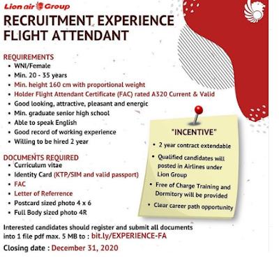 Lowongan Kerja SMA Sederajat Lion Air Group Desember 2020