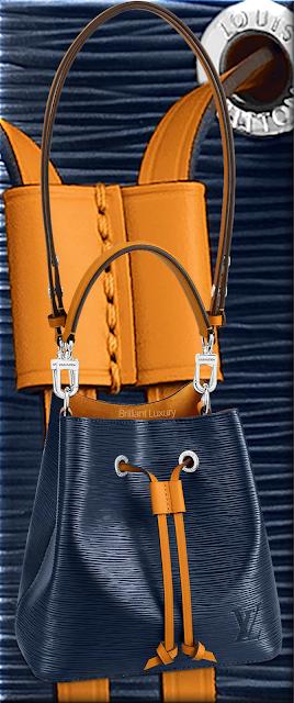 Louis Vuitton NéoNoé BB bucket bag in indigo blue and safran yellow trim #bags #louisvuitton #brilliantluxury