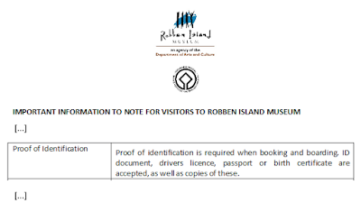 Cape Town, Robben Island, visitor requirements