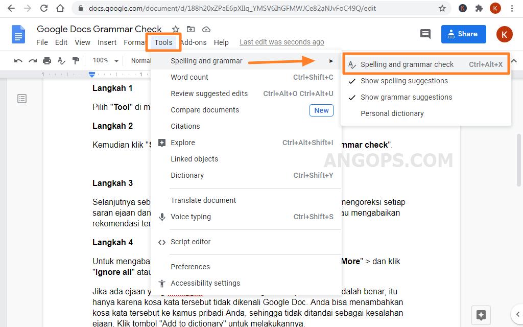 grammar dan spelling checker di google docs
