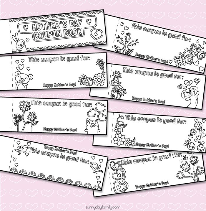 free printable mothers day coupons for kids to color and create sunny day family. Black Bedroom Furniture Sets. Home Design Ideas