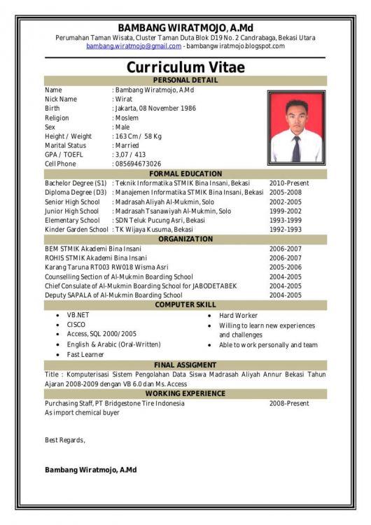 Contoh CV yang Dikirm Email