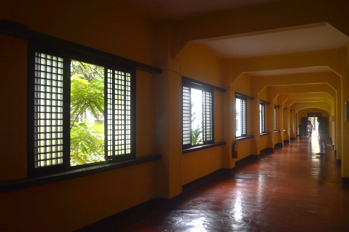 Typical hallway of the Normal Hall residential wings, renovated windows with glass panels