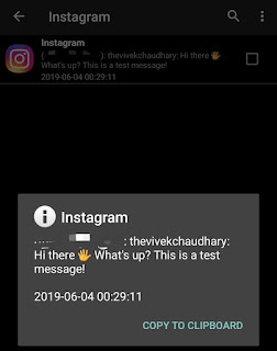 Read Instagram message using Notification History