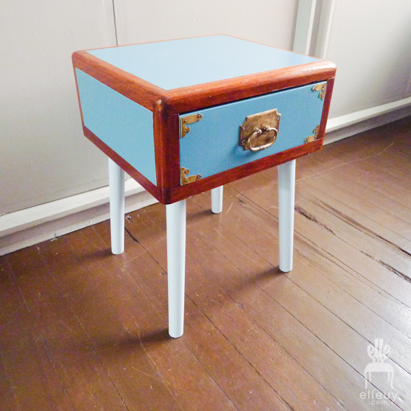 blue and wood vintage mid century mcm side table with brass hardware