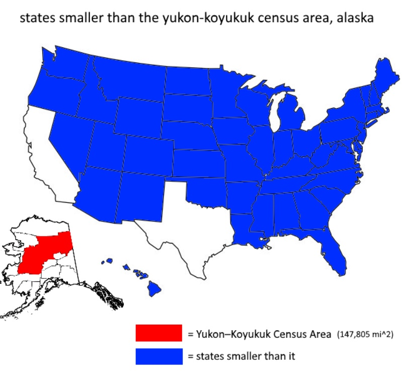 States smaller than the Yukon-Koykuk census area  (Alaska)