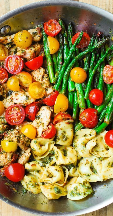 Please visit our website for more | 🍝 Recipes Pin 🔥 One-Pan Pesto Hen, Tortellini, and Veggies – healthful, refreshing, Mediterr...